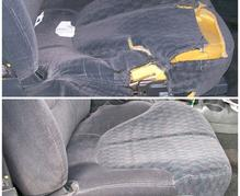 before and after of car seat upholstery repair