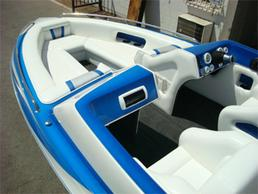 boat whit brand new white upholstery